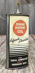 Early Vintage 4 Oz Sewing Machine Household Oil Oiler Tin Can Advertising