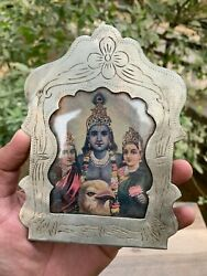 Antique Rare Hand Carved Silver Coated Collectible Hindu God Rama Photo Frame