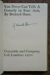 Signed Rare You Never Can Tell By George Bernard Shaw. Hardcover, 1920. Nobel.