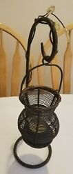 Antique Hand Made Wrought Iron Candle Holder Primitive Decorative