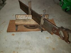 Vintage Stanley Miter Mitre Box No. 50 1/2 With E.c. Atkins And Co. Saw