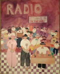 Original Acrylic On Canvas Signed Painting By Jim Hill - Radio Broadcasting
