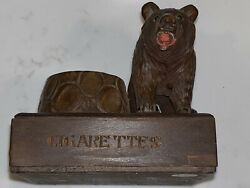 Black Forest Wood Wary Standing On All Fours Bear Cigarette Kit W/drawer And Dish