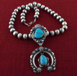 Sterling Silver Bead Necklace With Natural Kingman Web Turquoise Naja