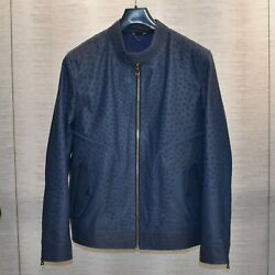 Genuine Ostrich Leather Menand039s Luxury Navy Blue Bespoke Made To Measure Jacket