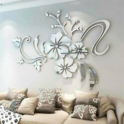 Removable Wall Stickers 3D Mirror Flower Art Mural Decal Living Room Home Decor.