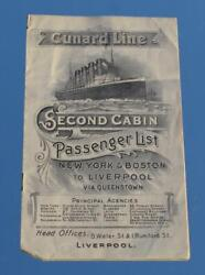 Cunard Line Rms Carmania 2nd Cl Pas List 1909 Carpathia And Lusitania Mentioned