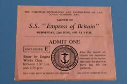 Canadian Pacific Line Ss Empress Of Britain 1953 Launch Invite Glasgow
