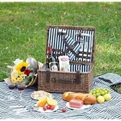 Brexton For Saks 5th Ave Vintage English Style Picnic Basket Service For 4