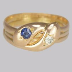 Victorian Snake Ring 15ct Gold Old Mine Cut Diamond And Sapphire Serpent Ring 1894