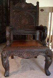 Vtg Antique Asian Oriental Carved Chair Wood High Back Lotus Blossom Dragon