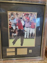 2005 Tiger Woods Masters Picture Frame W/ Plaques And Ball Marker