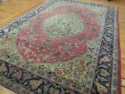 7x11 8x10 Antique Herize Oriental Area Rug Red Gold Navy Blue Wool Hand-knotted