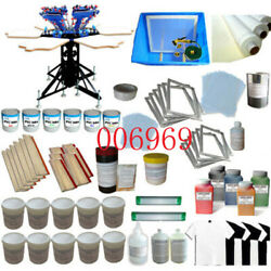 6 Color Screen Printing Press Kit-machine With Big Materials Package Usa Sale