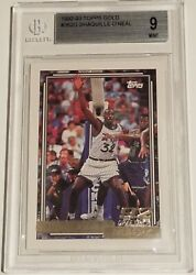 1992-93 Topps Gold Shaquille Oand039neal Rookie Rc 362g Bgs 9 Mint