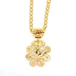 Flower Coco Mark Necklace Gold Vintage Accessory 90112192