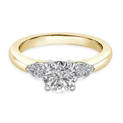 Round 0.74 Ct Real Diamond Wedding Rings For Women Solid 14k Yellow Gold Size 7