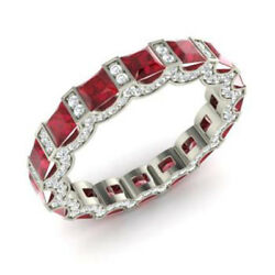 3.88 Ct Real Gemstone Ruby Diamond Engagement Band Solid 14k White Gold Size 7 8