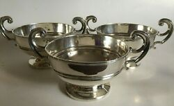 3 Antique British Sterling Silver Handled Dishes Drew And Sons Piccadilly Circus