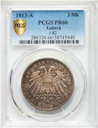 Rare In Proof 1913 A Germany 3 Mark Lubeck Pr66 Pcgs