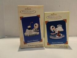 Hallmark Frosty Friends Christmas Ornaments Set Of 2 2002- 2005 New In Box