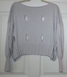 Planet By Lauren Cropped Sweater One Size Fits All Lavender Boat Neck Holes Ec