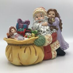 Vintage Partylite Exclusive Santa Claus With Little Girl Christmas Candle Holder
