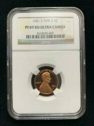 1981 S Lincoln Cent Proof 1c Pf69 Rd Ultra Cameo Ngc Type 2 Sku 2433