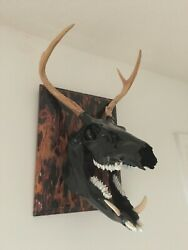 Taxidermy Deer And Hog Fire Plaque Absolutely Unique