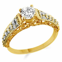 0.60 Ct Vintage Diamond Antique Filigree Engagement Ring 14k Yellow Gold Over