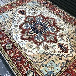 New Handmade In India Soft Tribal Oriental Rug, Neutral Colors With Blue, 9x12