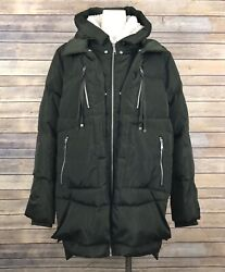 Sam Edelman Oversized Down Puffer Jacket L Olive Green Faux Shearling Hooded NEW $67.14