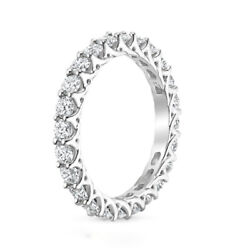 Round Cut 2.50 Ct Real Diamond Engagement Eternity Bands 14k White Gold Size 5 6
