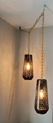 Dimmable 2 Pendant Hanging Swag Lamp Black And Gold Brass By Main Pick M⛏p