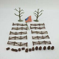 Vintage Marx Military Lot Barb Wire Trees Fabric Flag Invasion Day Barrels 25pc