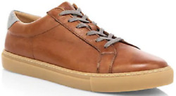 New Eleventy 395 Camel Brown Grey Trim Low Top Leather Sneakers Italy Size 9