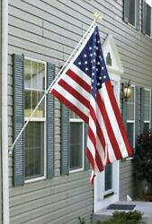 Deluxe American Flag Pole Set With Golden Eagle 6ft 3-piece Aluminum Rust-proof