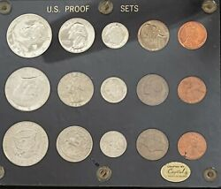 1964 Mint And Proof Sets 12713 Blue Capitol Holder With 1964 Proof Set 50c Is