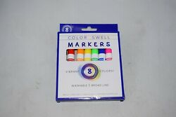 Color Swell Markers 8 Pack Washable Broad Line Non-toxic Vibrant Colors