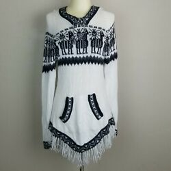 Artesania Edm Alpaca Wool Hooded Fringed Sweater With Front Pockets Size L