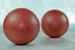 Pair Of 2 Red Heavy Wooden Round Bocce Solid Wood Balls Vintage Games Boules