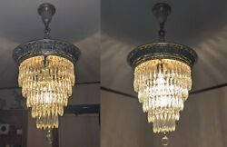 Matching Pair Of Antique Wedding Cake Chandeliers With 5 Tiers Of Crystal