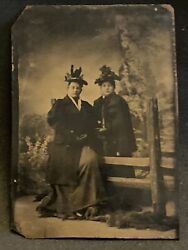1880s Antique Tintype Photo 2 Victorian Woman W Trimmed Hats And Heavy Coats