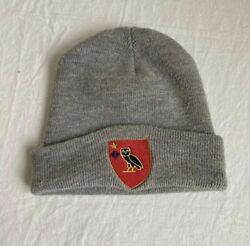 Ovo Embroidered Owl Crest Beanie Grey Red 2015 October's Very Own Drake