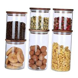 Clear Borosilicate Glass Storage Containers With Airtight Wooden Lids,sealed Gl