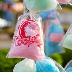 2000 Case Clear Plastic Printed Cotton Candy Bags 11 1/2 X 18 1/2