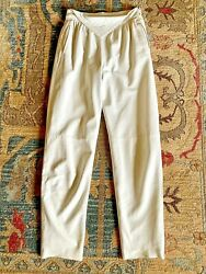Vtg 80and039s Echtes Leder High Waisted White Leather Pants 36 Pleated Straight 28x31
