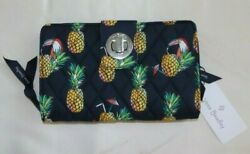 Vera Bradley Turnlock Zip Around Wallet Toucan Party Navy Blue And Pineapples Nwt