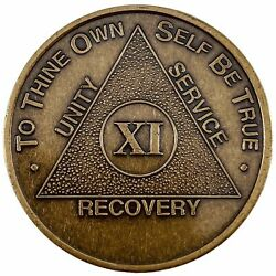 Recovery Mint 11 Year Bronze Aa Meeting Chips - Eleven Year Sobriety Coins/token
