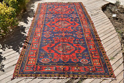 Caucasian Rug 66and039and039x130and039and039 Hand Woven Antique Vintage Sumak Kilim 170x331cm